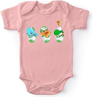 OKIWOKI Yoshi - Pokémon Lustiges Rosa Kurzärmeliger Baby-Bodysuit Mädchen - Yoshi, SCHIGGY und GLUMANDA Yoshi - Pokémon Parodie signiert Hochwertiges Baby-Bodysuit - Ref : 885