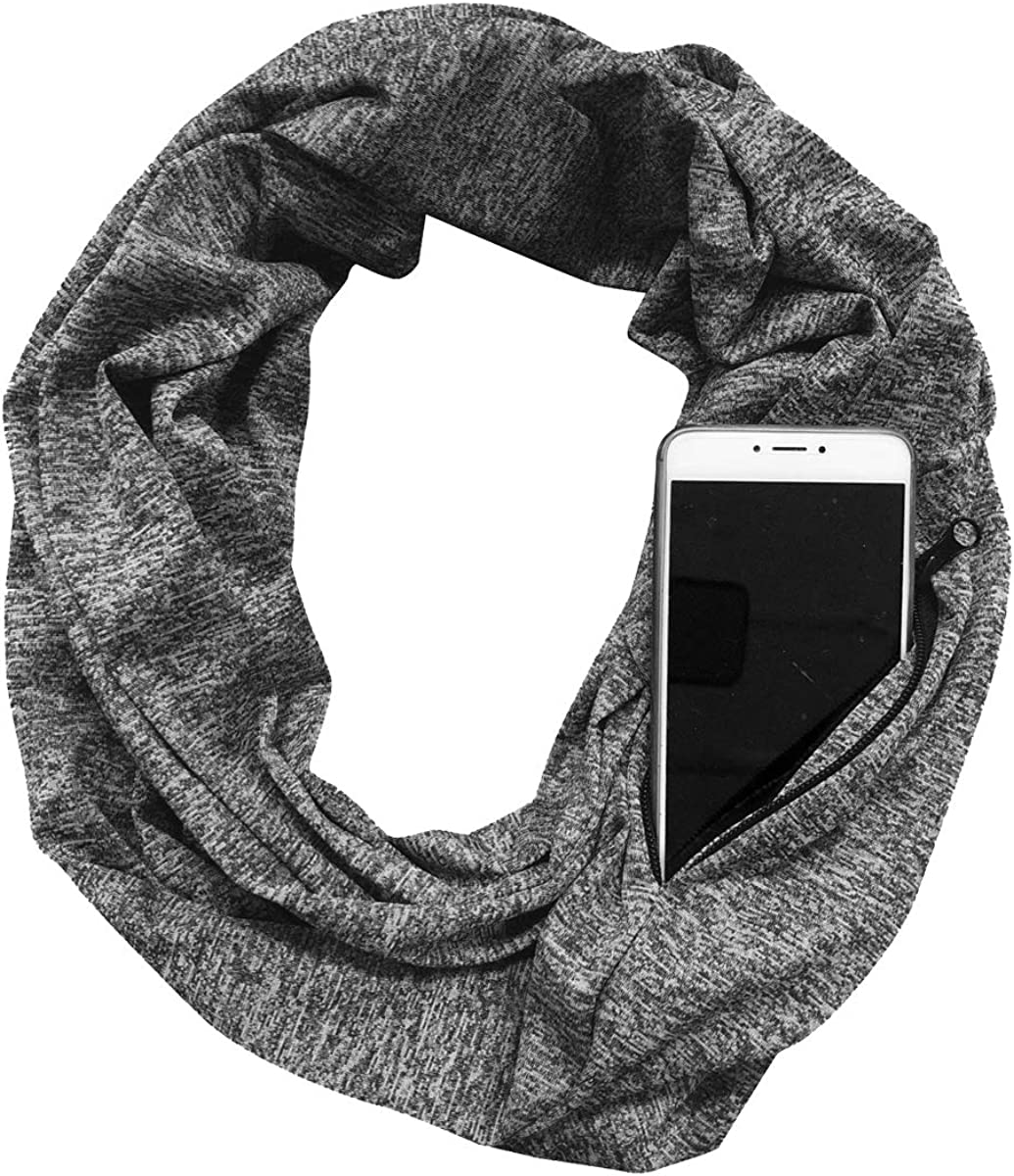 Unisex Infinity Scarf with Zipper Pocket Colorful Travel Journey Scarves Wrap Shawl