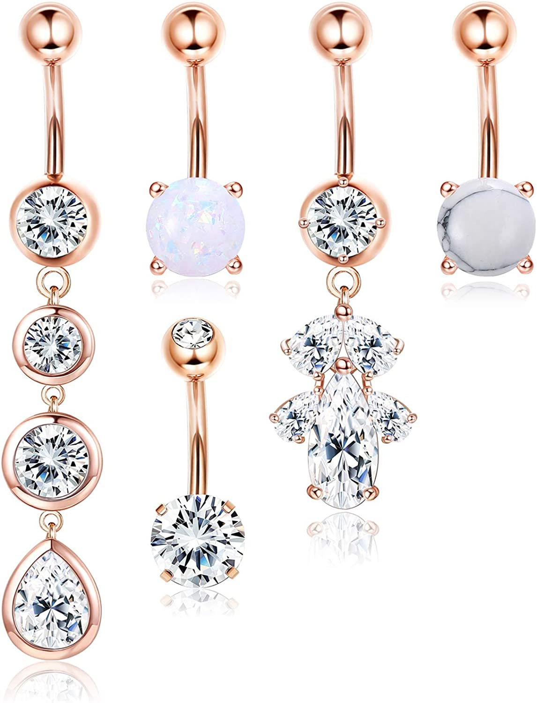 JOERICA 5 Pcs Stainless Steel Belly Button Rings for Women Navel Rings Body Piercing Jewelry