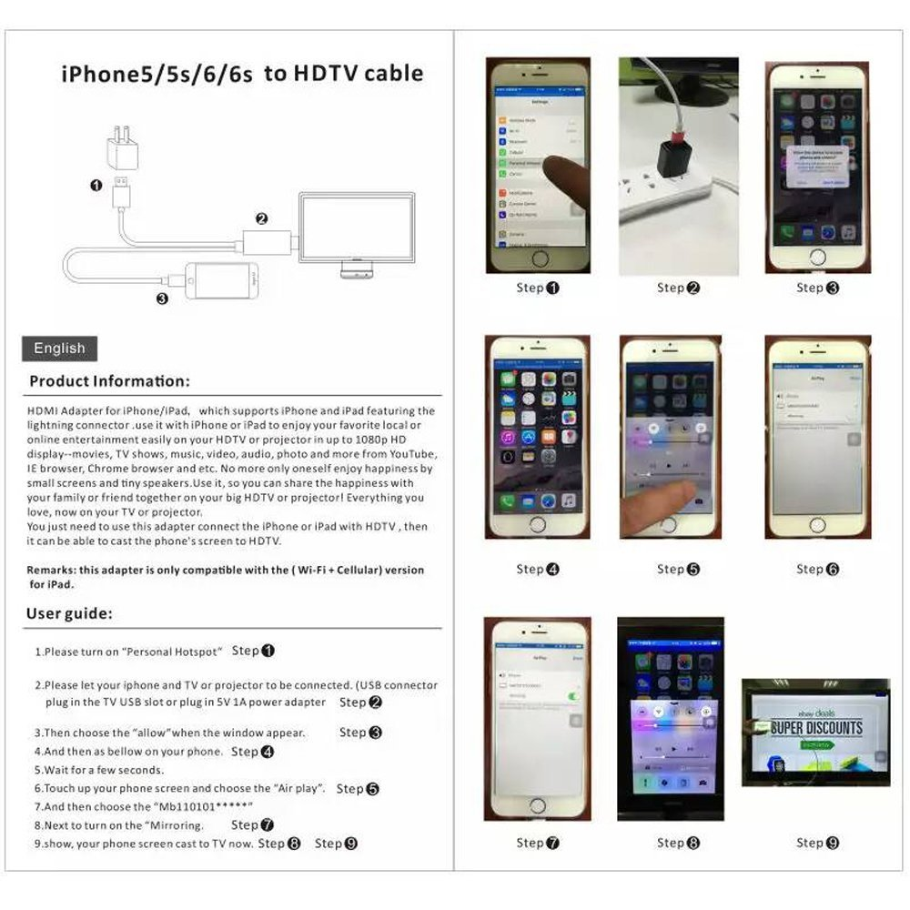 1080P 8 Pin rayo macho a HDMI adaptador macho Cable con alimentación USB para Iphone 5 5C 5S 6S 6 Ipod Touch Nano 5 iOS 10 (Oro rosa): Amazon.es: Electrónica