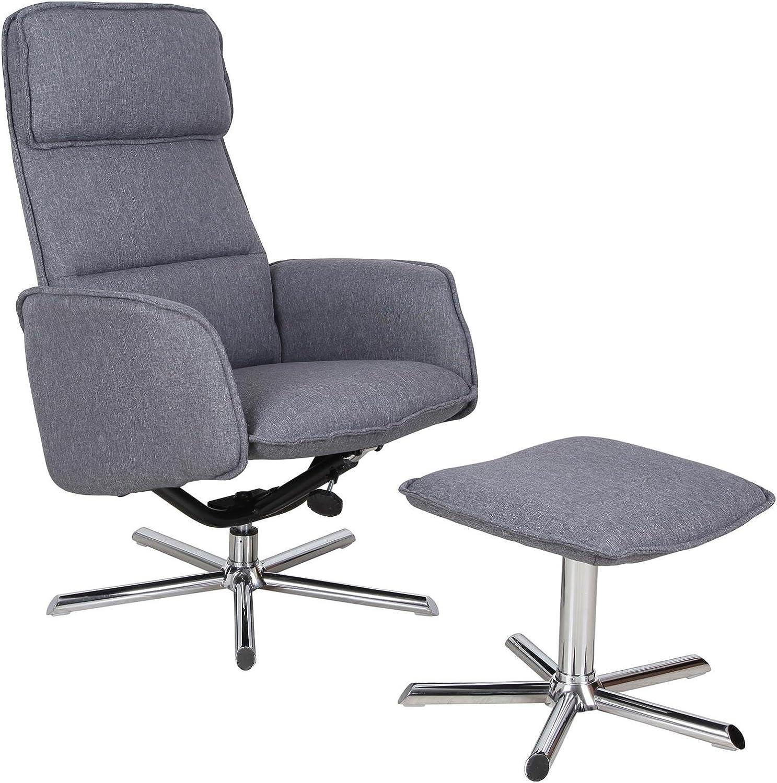 CARO-Mbel Relaxsessel Reno Fernsehsessel TV Sessel mit Hocker, inkl. Liegefunktion, Stoffbezug in anthrazit grau