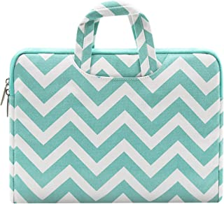 MOSISO Laptop Sleeve Compatible with 13-13.3 Inch MacBook Air (Including 2018), MacBook Pro (Retina) 2012-2018, Surface Pro 3/4/5/6, Canvas Chevron Style Handle Carrying Briefcase Case Cover Bag,Hot Blue