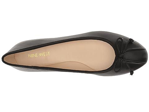 Bailarina negro de Batoka West cuero plana Nine raW6UFr