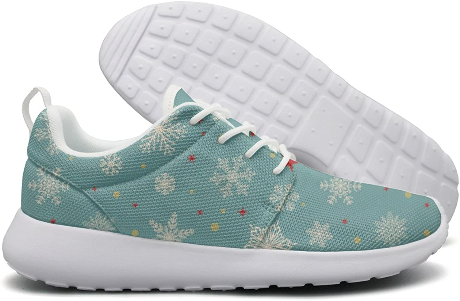 Opr7 White Snowflake on Light bluee Running shoes Lightweight for Women Sneaker Lace-up Shock Absorbing