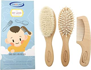Baby Hair Brush & Comb Set, Organic Wooden Hairbrush Natural Goat Bristles 3-Piece for Newborns & Toddlers, Ideal for Crad...