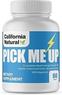 Pick Me Up All Natural Energy Supplement - California Natural - B12, Ginseng, Guarana, Bee Pollen - Mental Focus & Clarity...