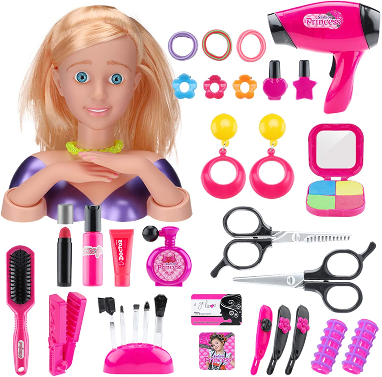 35PCS Makeup Kit with Hair Dryer Styling Head for Girls Doll Head Playset for Kids Play Game Halloween Christmas Birthday Party