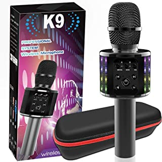 Wireless Bluetooth Karaoke Microphone-Upgraded Portable Handheld Mic Speaker Machine with Bluetooth 5.0 Dual Sing Suitable...