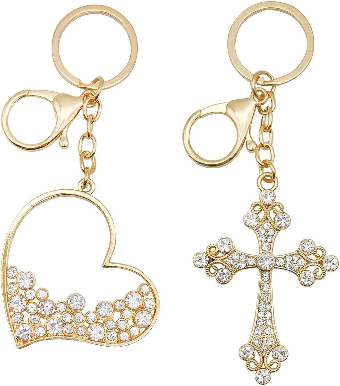 OKAICEN 2 Pcs Cheap mail order shopping Gold Tone Cubic Shape overseas Zirconi Keychain HeartCross