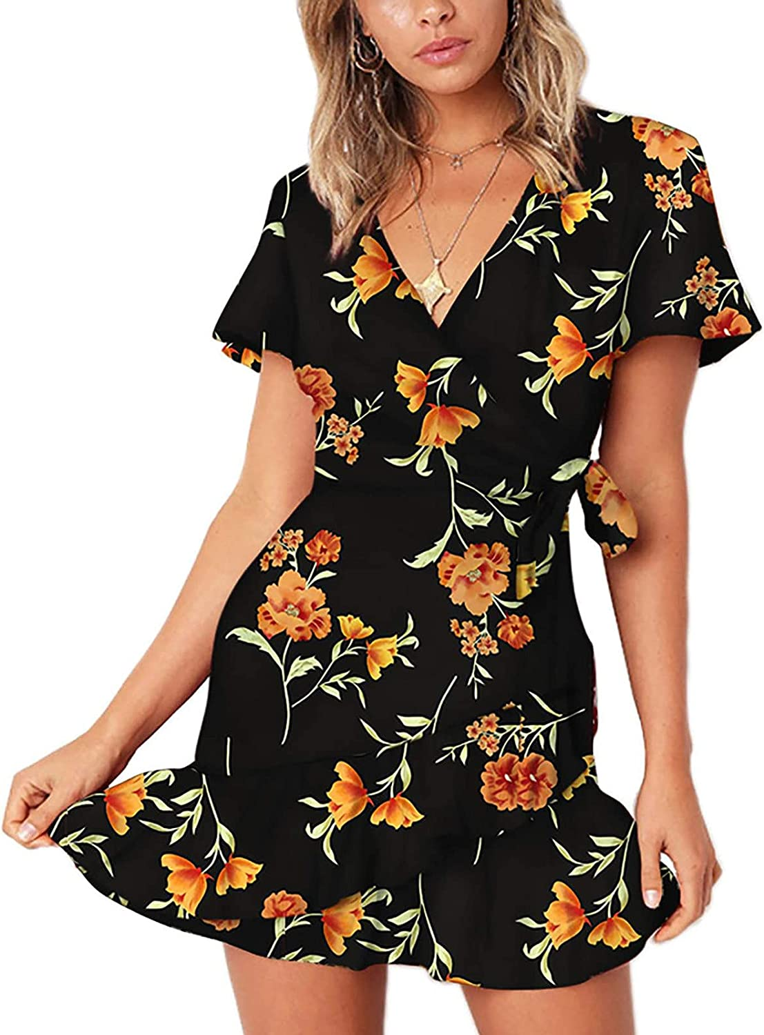 VISOEP Womens Summer Short-Sleeved V-Neck Casual Butterfly Lace-up Ruffle Dress Mini Dresses
