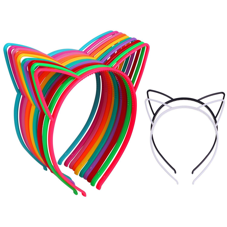 12Pcs Cat Ear Headband Girl's Plastic Headbands Cat Bow Hairband for Christmas and New Year Women and Girls Headband