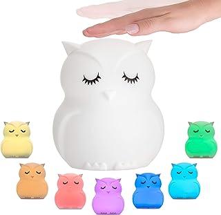 Pauleen 48033 Night Owl, luz de Noche búho, lámpara LED para habitación Infantil con batería, con Cambio de Color, de Silicona sin BPA, Blanco