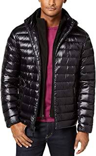 Calvin Klein Mens Packable Down Hooded Puffer Jacket Shiny Black