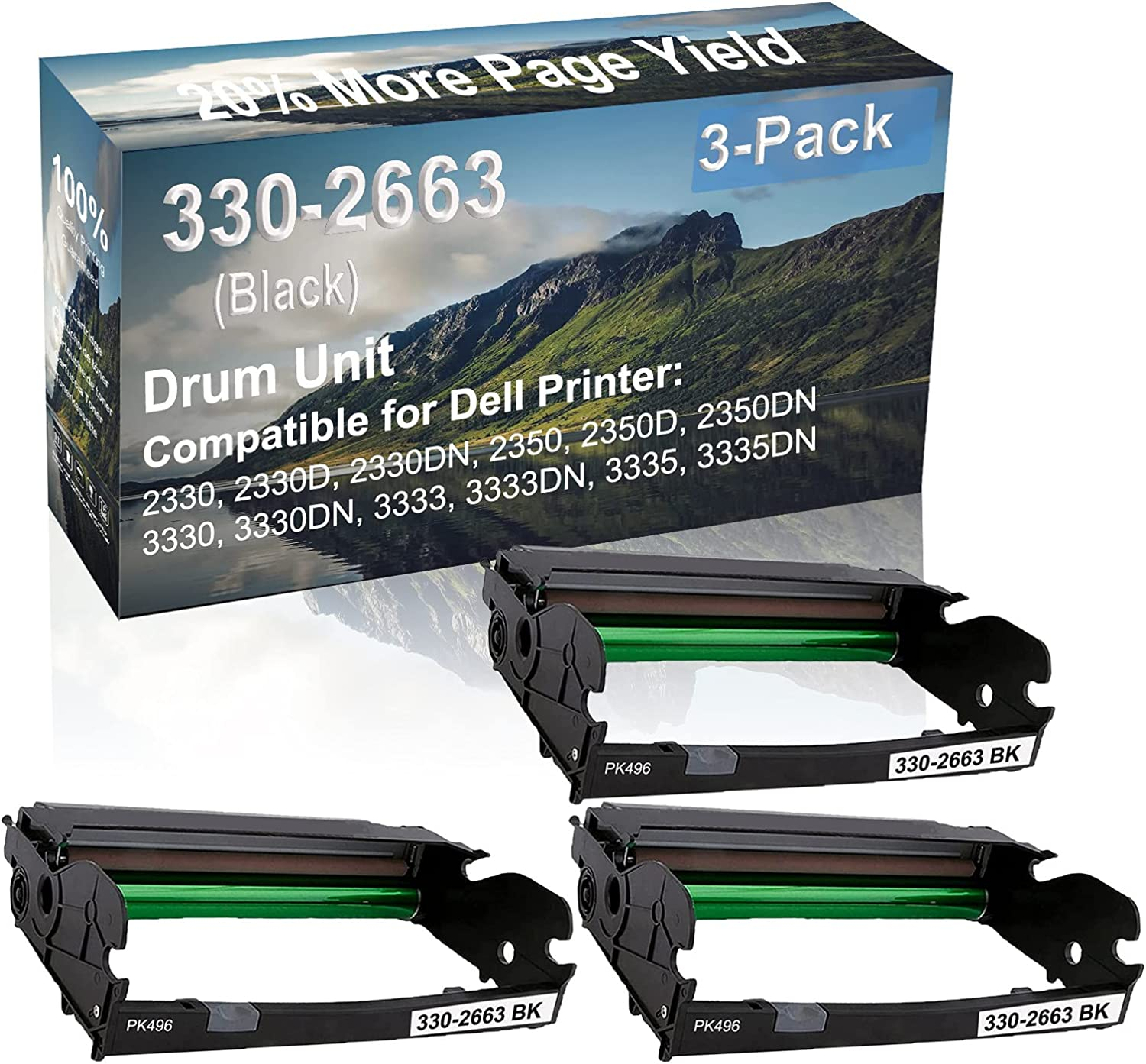 3-Pack Compatible Drum Unit (Black) Replacement for Dell 330-2663 PK496 Drum Kit use for Dell 3333, 3333DN, 3335, 3335DN Printer