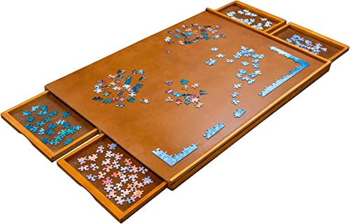"""2021 Jumbl 1000-Piece Puzzle Board   23"""" x 31"""" Wooden Jigsaw Puzzle Table online sale with 4 Removable Storage & Sorting Drawers   Smooth Plateau lowest Fiberboard Work Surface & Reinforced Hardwood   for Games & Puzzles online sale"""