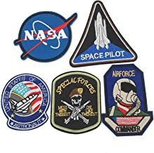 Embroidered Badge Patch Set Iron On/Sew On Patch NASA Blue Logo Cap Accessories Manual DIY Accessories Applique for Jacket T-Shirt Repair Patch(5 PCS)