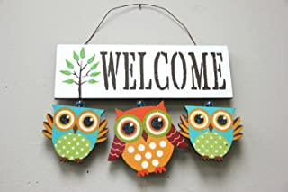 Primitive Country Wood White Welcome Owl Sign/Wall Art