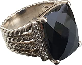 Designer Inspired Twisted Cable 16x12mm Black Onyx Ring with Simulated Pavé Diamonds Size 7 8 9