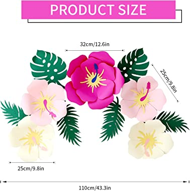 Luau Hawaiian Hibiscus Paper Flowers Tropical Leaves Party Decorations Paper Artificial Flower for Mexican Hawaiian Party Dec