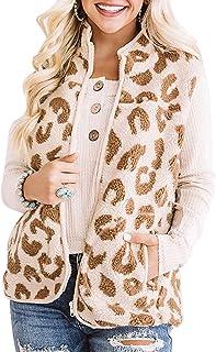 BTFBM Women Fleece Sherpa Fuzzy Warm Lightweight Sleeveless Zip Up Gilet Quilted Reversible Vest Jacket with Pockets