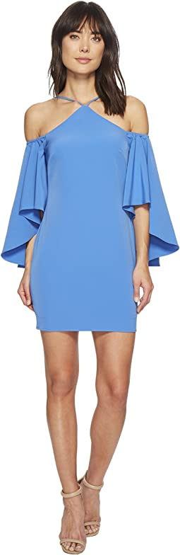 Fitted Cutaway Neckline Dress with Hi-Lo Cold Shoulder