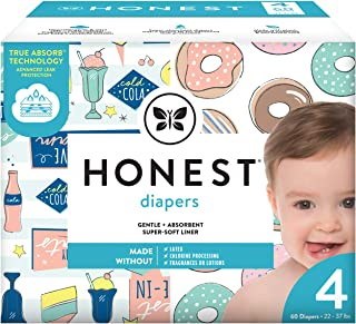 The Honest Company Club Box Diapers With Trueabsorb Technology, Donut Grow Up & Honest Drive-in, Size 4, 60 Count
