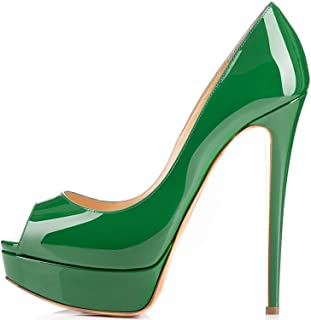 elashe Escarpins Femme Plateforme - 15CM Escarpins Peep Toe - 3CM Plateforme Talon Chaussures Open Toe