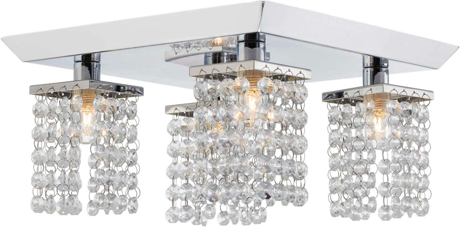 NOMA LED Adjustable Crystal Finish Semi-Flush Ceiling Light Fixture with 4 Lights for Track Lighting