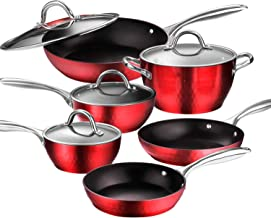 AMERICOOK 10 Piece, Red Diamond-Infused Pans and Pots Set. Aluminium Cookware Set of Induction Safe Pans and Pots with Sturdy Glass Lids and Non-Slip Stay-Cool Stainless Steel Handles. Dishwasher Safe