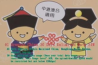 4G LTE Greater China 30 Days Unlimited Data SIM+馨午茗茶sun Moon Lake Black tea1,China, Hong Kong,Macau &Taiwan