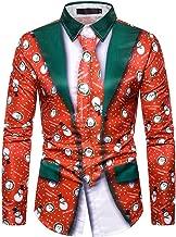 Beautyfine Men Fake Two-Piece Christmas Print Shirt Slim Fit Tops