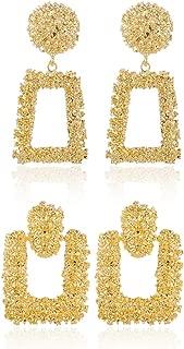 AIDSOTOU 2-4 Pairs Silver/Gold Statement Drop Earrings Large Metal Geometric Dangle Earrings for Women Girls