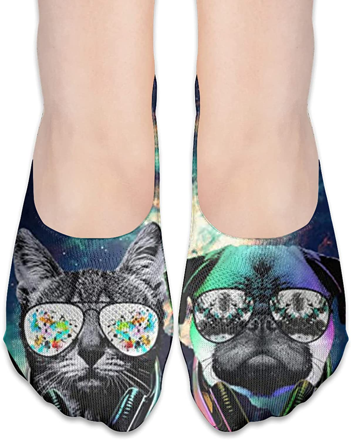Dj Cat Pug With Earphone Unisex Adult Breathable Liner Socks Non Slip No Show Ankle Socks Low Cut Invisible Socks