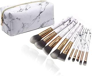 Marble Makeup Brushes Set,10Pcs Cosmetic Brush with White PU Leather Makeup Brush Bag Eyeshadow Face Eyeliner Blush Contour Foundation Make up Brushes for Women Powder Organizer Holder Bag