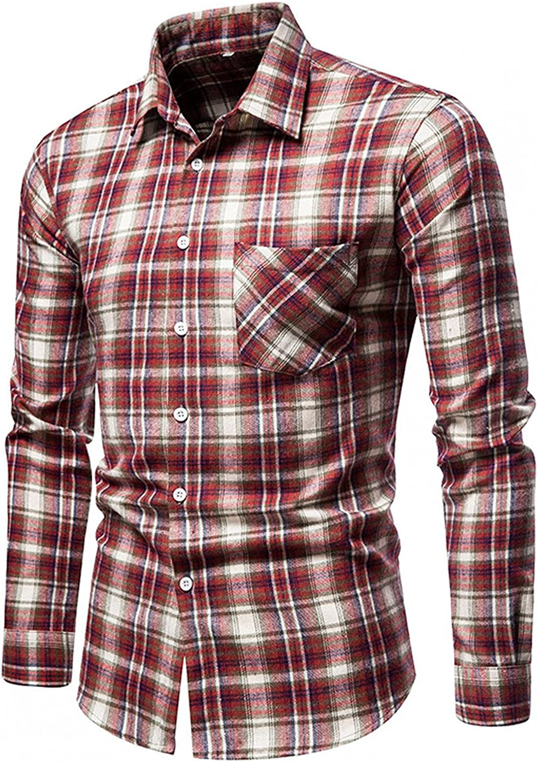 WoCoo Mens Plaid Shirt Long Sleeve Turn-down Button Top Standard-Fit Cotton Blouse Casual Loose Flannel T Shirts