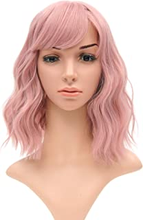 Short Bob Wigs With Air Bangs Shoulder Length Women's Short Wig Curly Wavy Synthetic Cosplay Wig Pastel Bob Wig for Girl Costume Wigs pink color