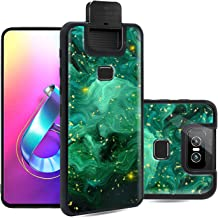 AIMUHO Asus Zenfone 6 Case, Ultra Slim Soft TPU  + Hard PC Shockproof Glossy Bling Case for Asus Zenfone 6 ZS630KL - Green Oil Painting
