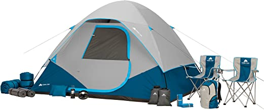 Ozark Trail 28-Piece Premium Camping Combo Set - 6 Person Tent includes rainfly, Lantern, Fan, Camping Chairs