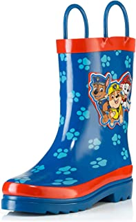 Nickelodeon Kids Boys' Paw Patrol Character Printed Waterproof Easy-On Rubber Rain Boots (Toddler/Little Kids)