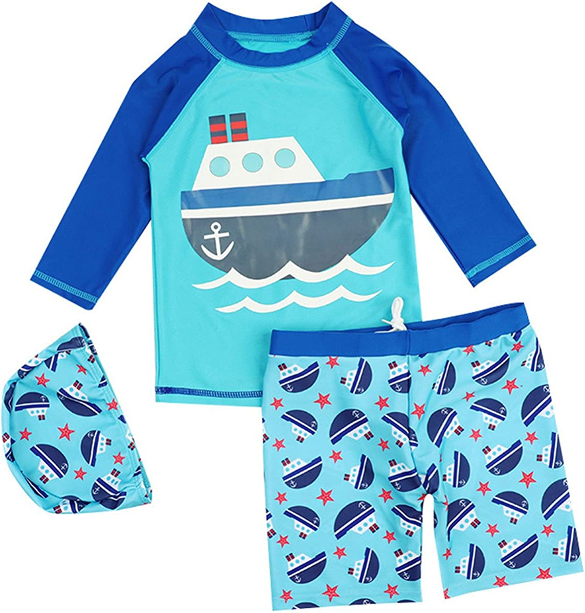 Baby Directly managed store Kids Boys Two Rare Pieces Sea Pro Sleeve Sailboat Fish Sun Short