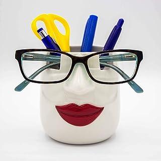 لافبيريز - حامل النظارات من السيراميك ومنظم للمكتب والمزهريات والنظارات والأدوات المكتبية، حامل أساسيات المكياج، منظم للوا...