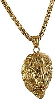 OIDEA Collana per Uomo Collana in Acciaio Inox con Pendente Testa di Leone Oro