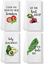 KLL Funny Kitchen Tea Towels Foodie Housewarming Gift- Set of 4 Dish Waffle Vegetables Towels Gift for Wedding Shower Fun ...