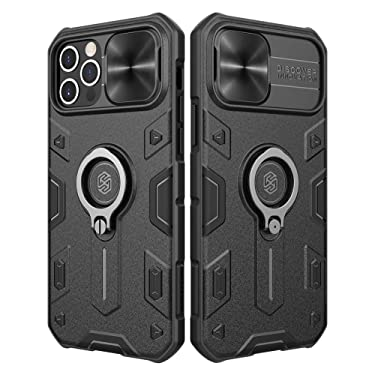 """Nillkin Compatible with iPhone 12 Pro Max, Shockproof Case with Stand and Slide Camera Protect Cover TPU + PC Protective Case 6.7"""" (Black)"""