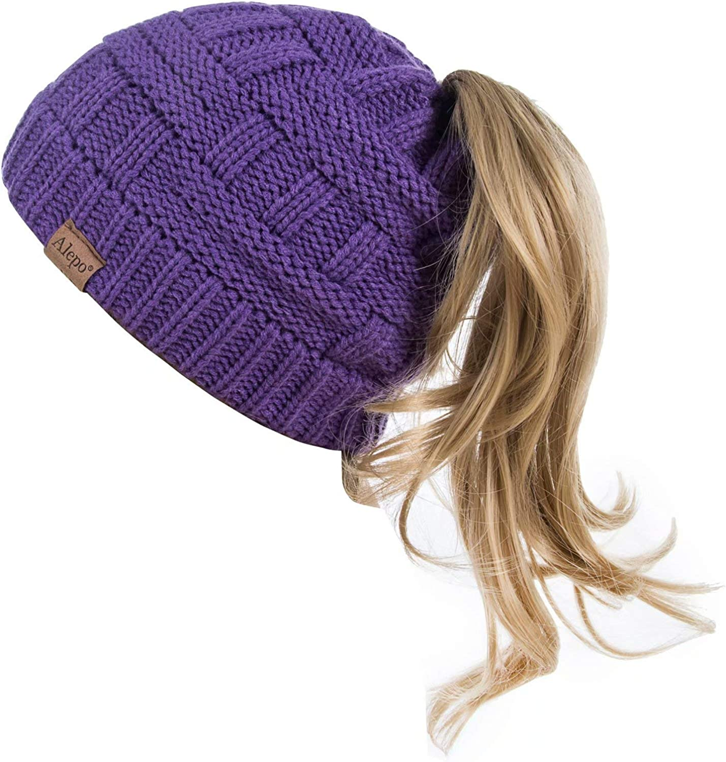 Alepo Womens High Messy Bun Super sale period limited lowest price Beanie Hole Winte with Hat Ponytail