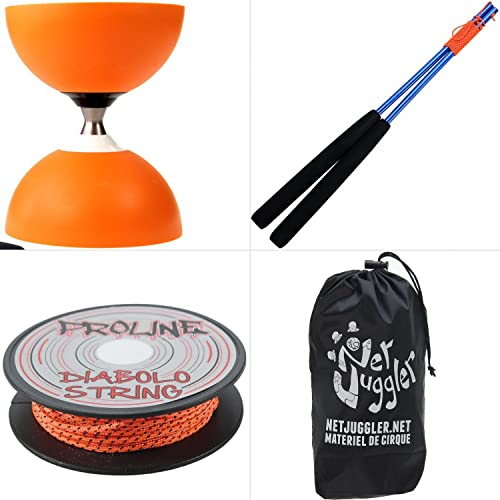 Henrys Diabolo Jazz Libre Orange + sacuettes Alu Bleu + Ficelle 10m Orange + Sac
