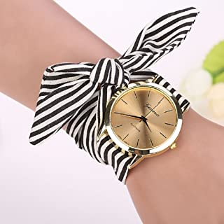 Malltop Elegant Women Floral Stripe Cloth Bracelet Mineral Glass Dial Window Quartz Analog Wrist Watch (Black)