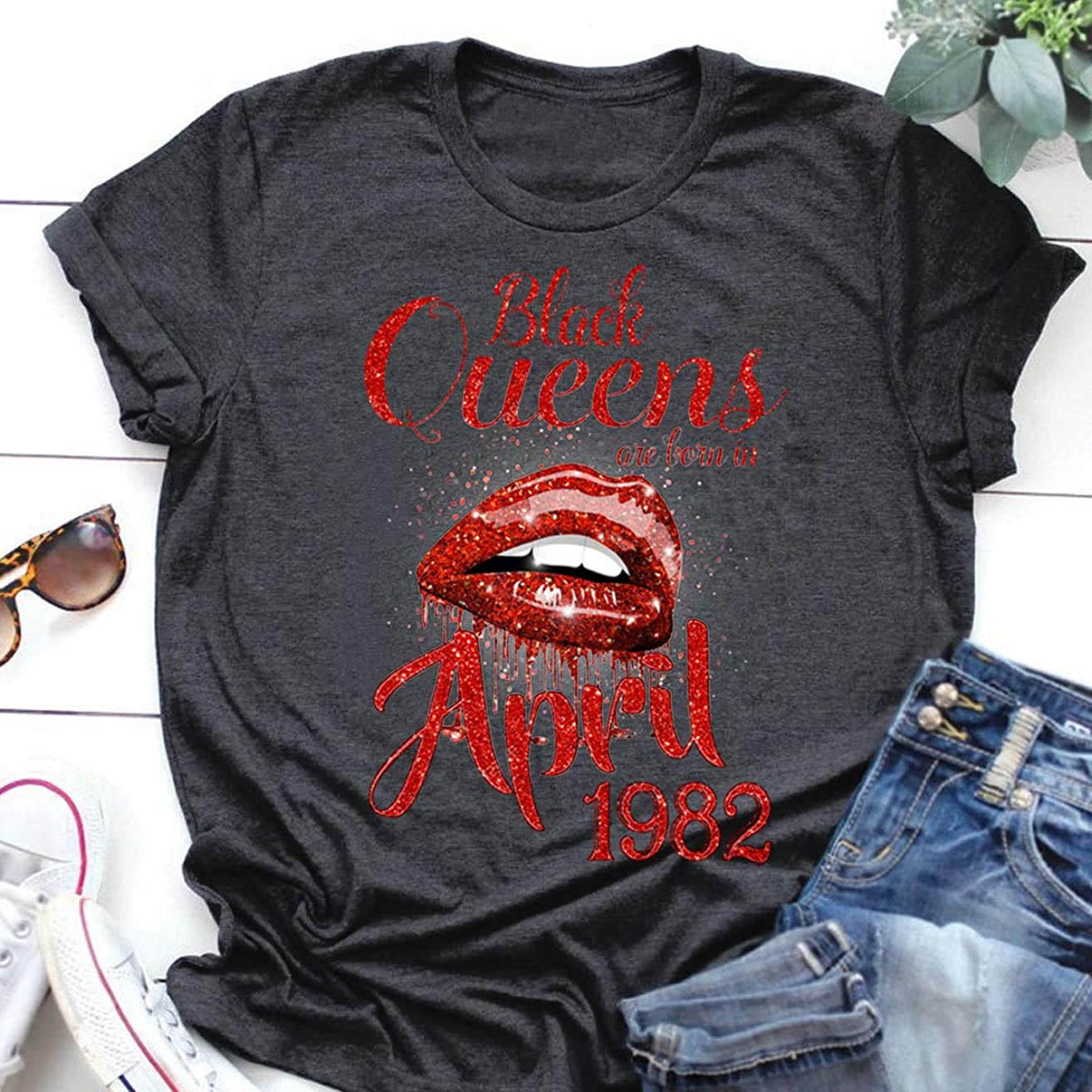 Black Queens Birthday T Shirts Hoodie Sexy Lips Queens Are Born In April 1982