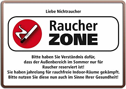 Territoriales Schutzgebiet Raucher 15x21 Funny Spruch Blechschild MJ114