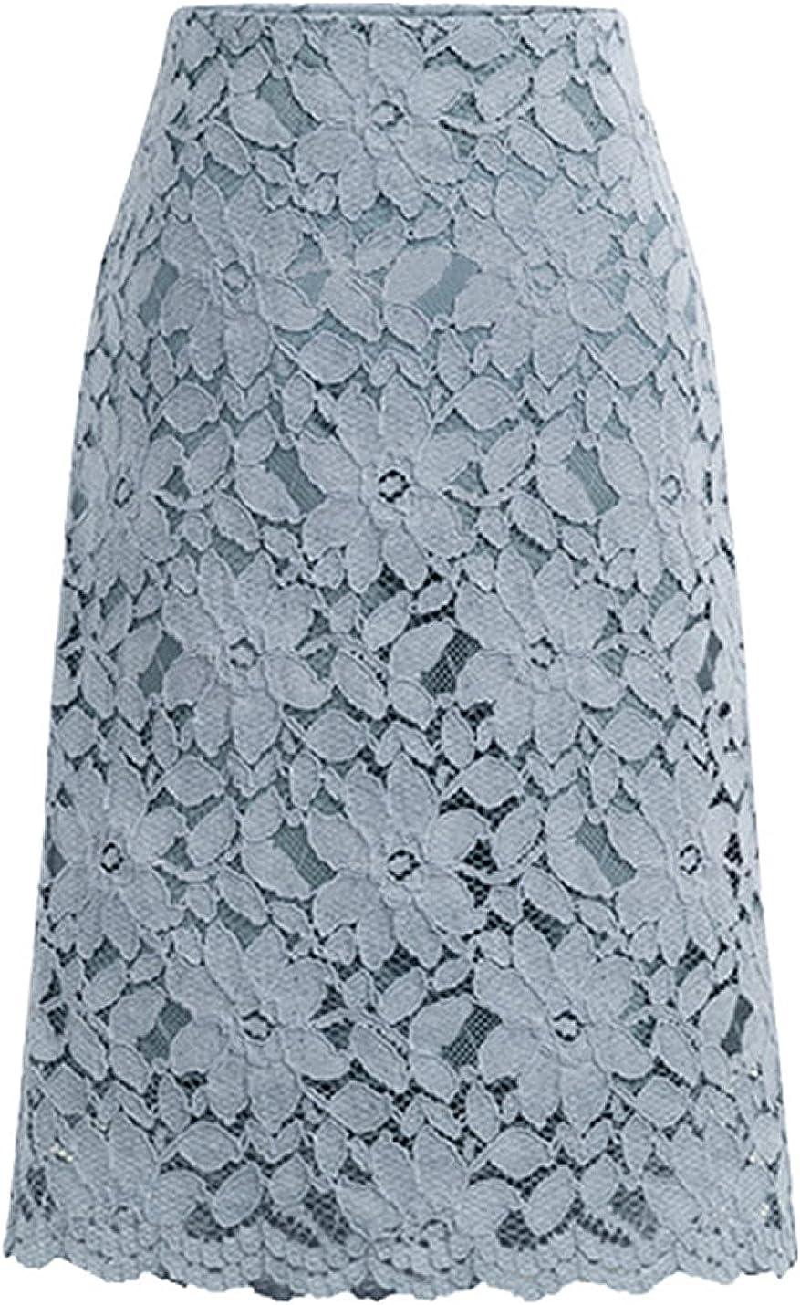 COWOKA Women's Elegant Floral Lace Skirt Elastic Waist Wear to Work Fleece Pencil Skirt Wrapped Hip Skirt